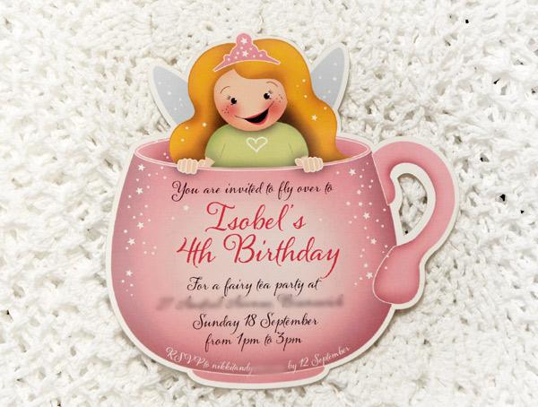 pretty fairy tea party birthday invitation invite