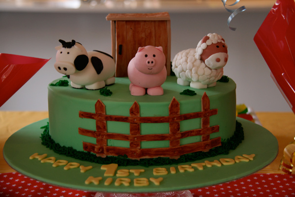 farm animal fondant birthday cake