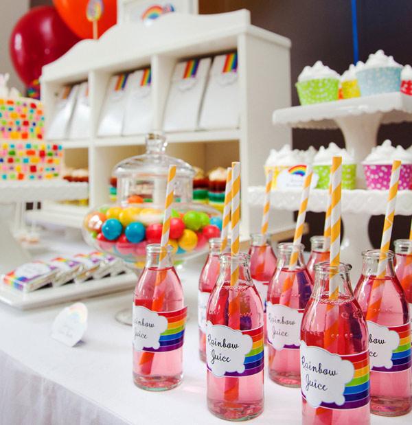 rainbow birthday party table
