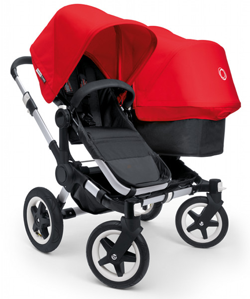 bugaboo donkey double pram with red hood