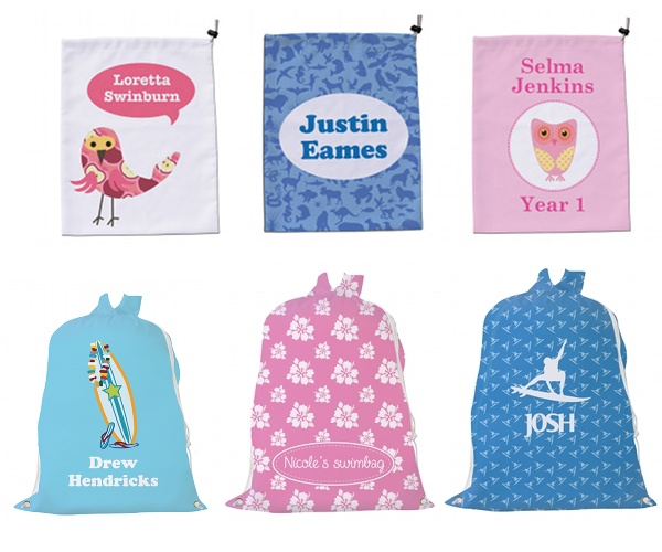 Bosco Bear swim bags and library bags