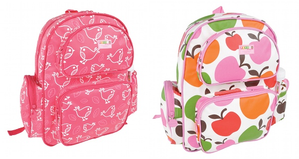 Penny Scallan apples and girly bird backpacks