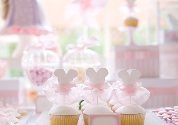 enchanted garden birthday, princess party, ballerina tutu cupcakes