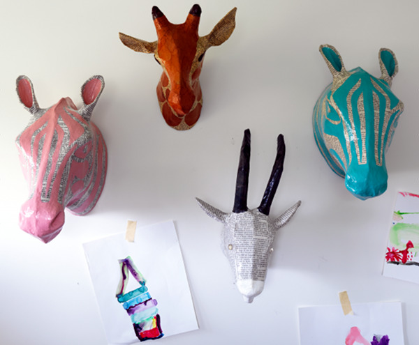 animal paper mache heads