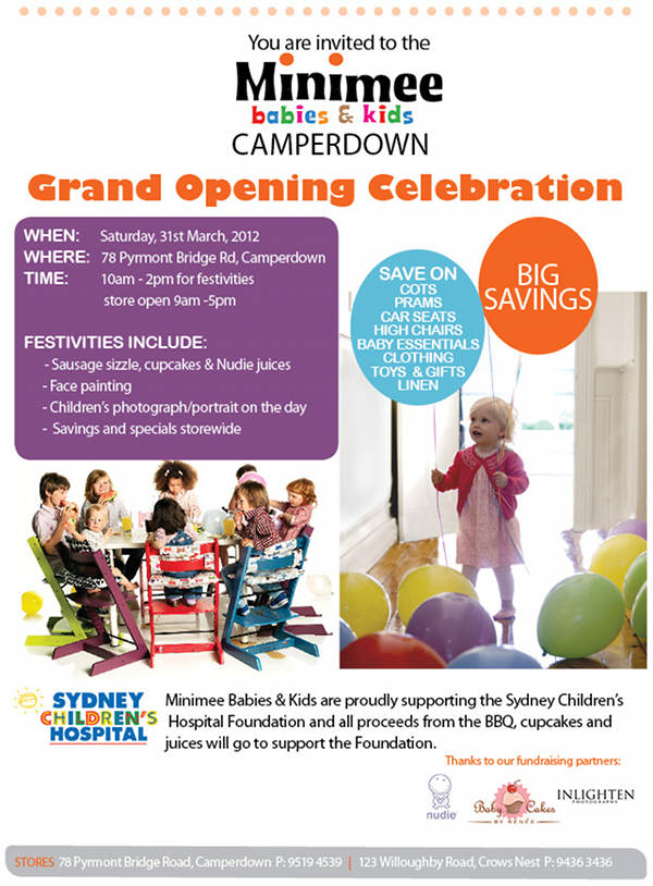 Supporting Sydney Children's Hospital - Minimee Camperdown official store opening 31 March