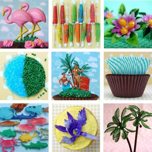 Hula cupcake toppers from Lark