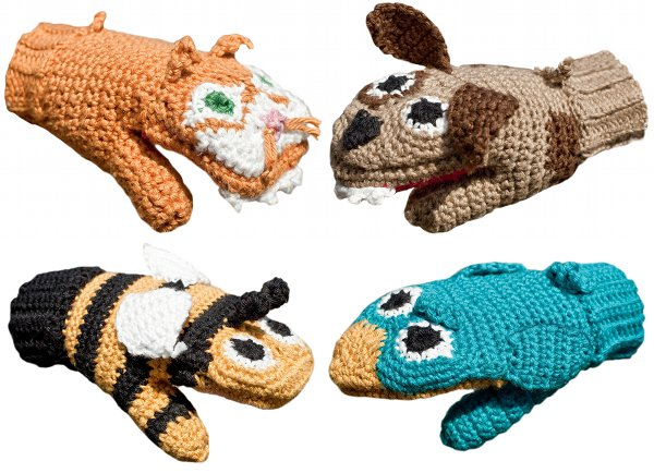 animal knitted mittens