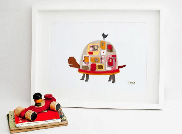 Pouch Handmade, turtle wall art