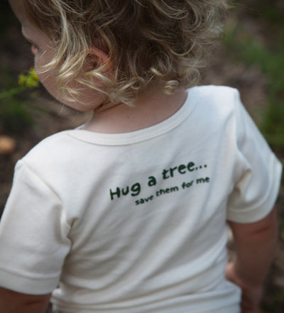 hug a tree baby t Spread awareness with an eco friendly toddler tee