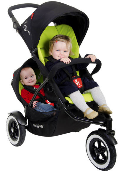 toddler and baby in phil and teds dot pram