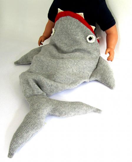 Shark sleeping bag from The Miniature Knit Shop