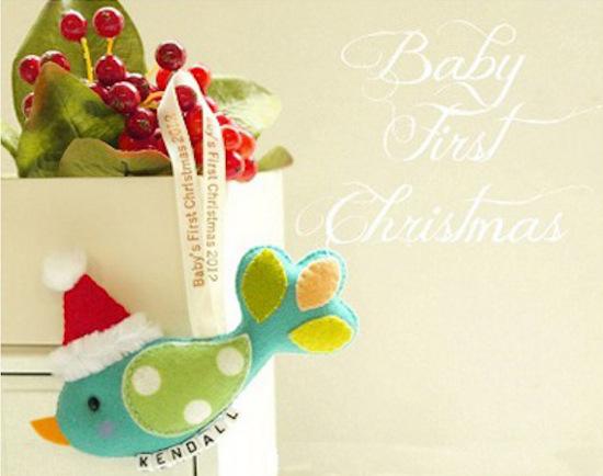 Santa Bird Baby's First Christmas keepsake