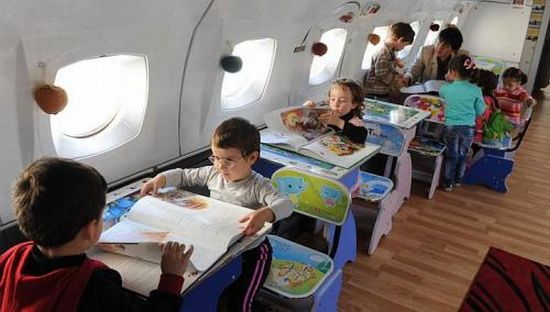Upcycled Airplane Kindergarten 1 The kindergarten classroom that takes off