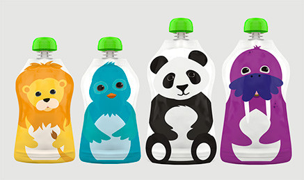 Squooshi reusable pouches for squishy food