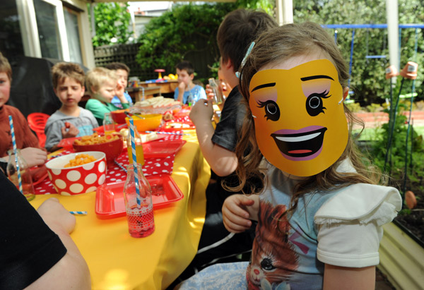 Lego birthday, minifigure party masks