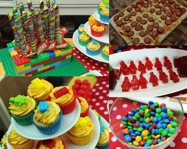 Lego birthday party, Lego gummies, Lego pizza, Lego party food