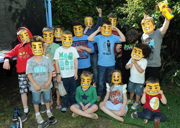 Lego birthday party masks
