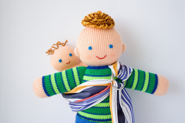 blonde baby wearing daddy The babywearing daddy doll by Freja Toys   because dads wear babies too