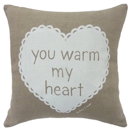 cushion warm heart white w Be still my beating heart   Valentines Day 2013