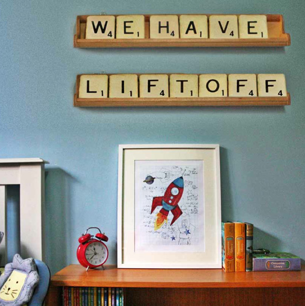 giant scrabble tiles and letters, rocket poster print
