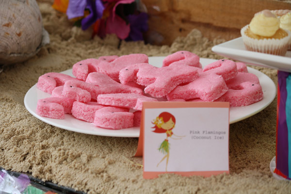 Hawaiian luau birthday party ideas, pink flamingo coconut ice