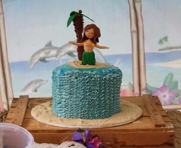 Hawaiian luau birthday, fondant hula dancer ruffle birthday cake