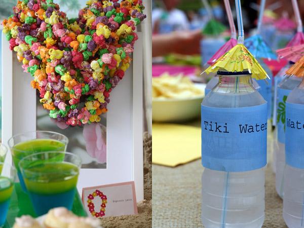 Hawaiian luau birthday party ideas, popcorn leis
