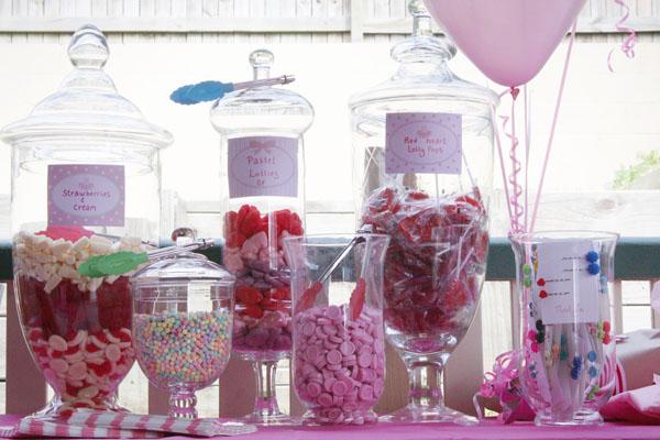 ballerina shower pink themed lolly buffet