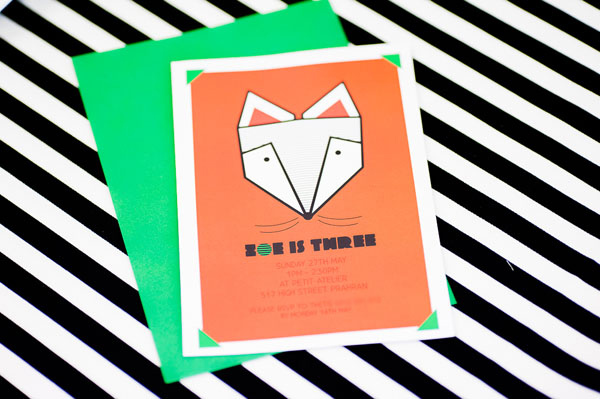 fox party invite Show us your party   Zoes Scandinavian fox birthday