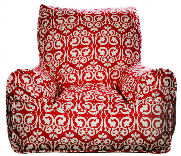 Lelbys red damask bean chair