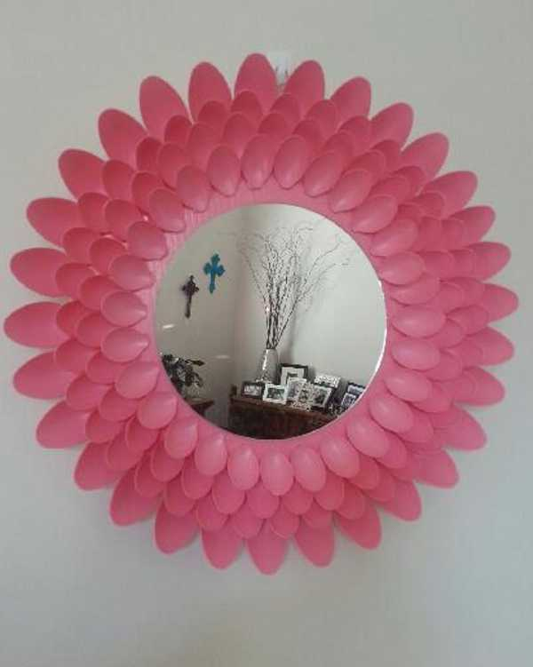 mels1, mirror made from plastic spoons