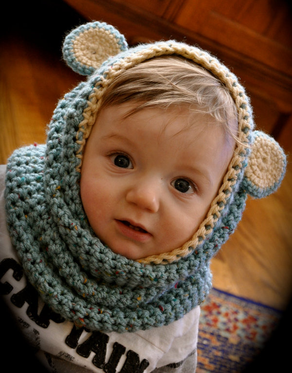Baby cowls from Etsy seller Savvystuff