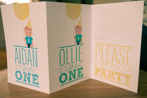twins birthday invitation