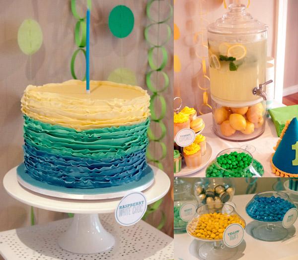 colour block ruffle cake