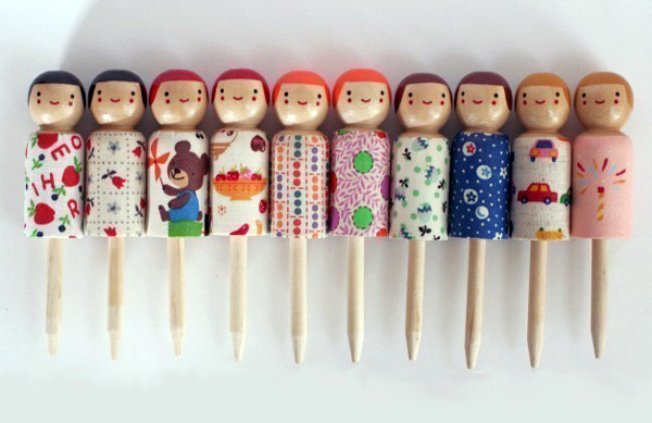 wooden peg birthday cake candle holders