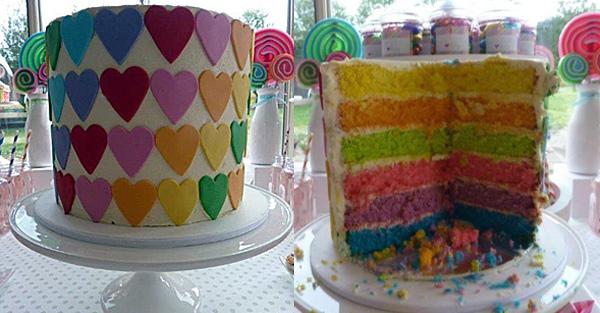 heart rainbow cake