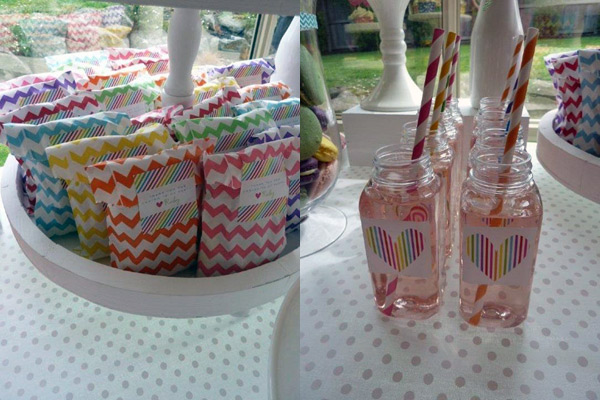 chevron party lolly bags