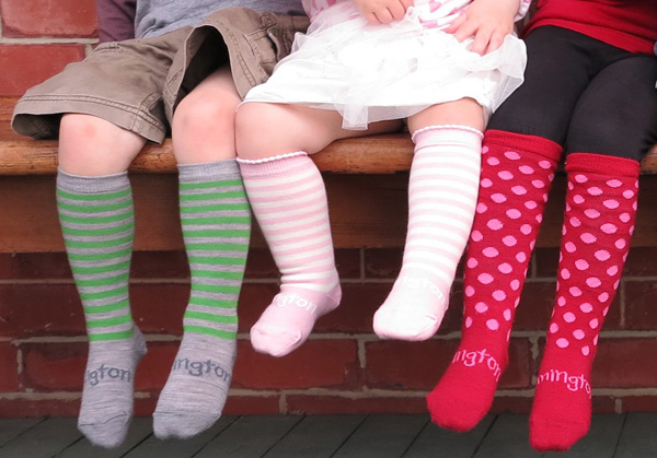 funky knee high striped socks for baby and kids