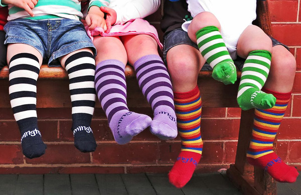 cool Merino wool striped socks for baby and kids