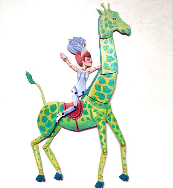 Artist in LA LA Land giraffe Printable Paper Puppets for rainy day fun