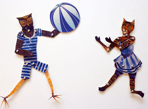 Artist in LA LA land owl and the pussy cat Printable Paper Puppets for rainy day fun