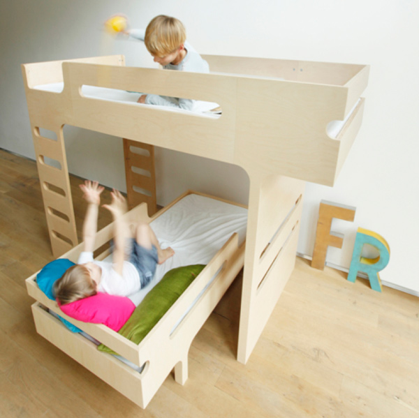 The R toddler bed and J bunk from Rafa Kids