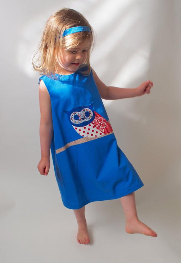 Owl blue dress