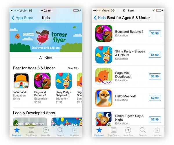 ios7 App store Kids category