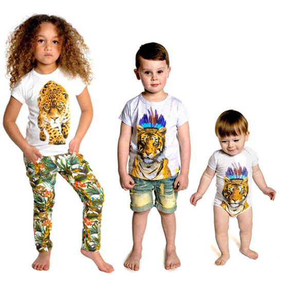 rock your baby artemis tee, tropical pants, leopard tee
