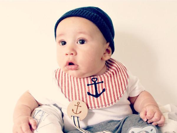 Baby in small bib