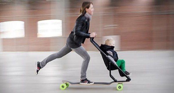 Quinny Longboard Stroller turns the stroller into a skateboarding ...