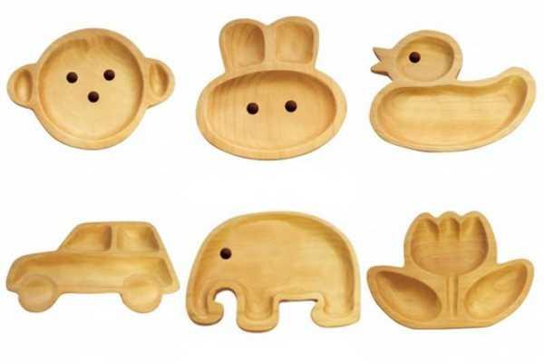bloume, duck, elephant, monkey, rabbit animal shaped wooden plate