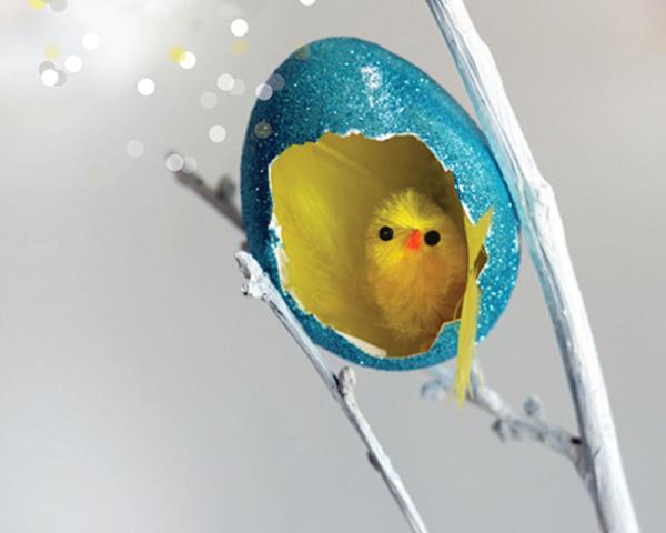 glitter eggs, stylish easter craft ideas for kids