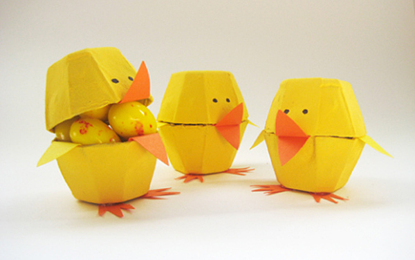 egg carton chicks, stylish easter craft ideas for kids